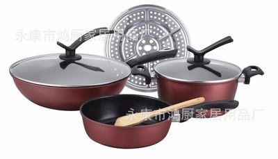 High - end kitchen products wok yuexiang 5 - piece set frying pan non - stick wok manufacturers dire Wine red 32 cm + 24 cm + 24 cm