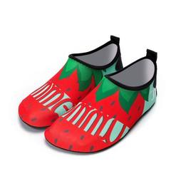 Xingtuo new style beach shoes portable swimming shoes sports barefoot skin soft shoes diving shoes s strawberry The inner length of shoes is 13.8CM