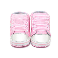 The new style of fashionable powder grey loving baby is wearing sports shoes pink 12