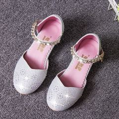 2017 new style children`s shoes spring style Korean version high heel princess shoes water drill gir silver 27/18.1 cm
