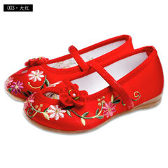 Old Beijing handmade children`s shoes cloth shoes girls national style embroidery shoes children per 003 red Long within 15