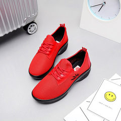 17 new style dancing shoes women`s mesh breathable dance shoes adult soft-sole sports shoes fitness  red 36