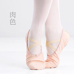 Children`s dance shoes cloth shoes ballerina shoes cat feet shoes adult canvas soft bottom training  Professional - pink meat 25 yards