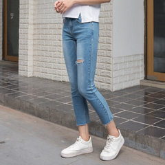 New style women`s stretch jeans, straight denim style slim, casual and simple Deep blue s.