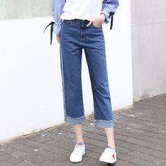 Jeans women`s wear spring 2018 women`s wear jeans high waist jeans women`s Korean version of straigh Deep blue s.