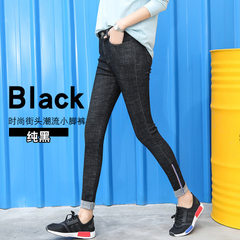 Nine-point jeans women`s short trousers stretch thin nine-point trousers women`s spring trousers Kor black 26