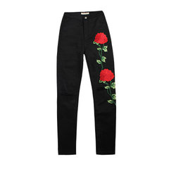 European station ebay amazon hot sale women`s 3D embroidery slim foot embroidered jeans with holes i black XS / 30