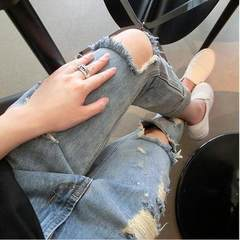 Spring style new style, European and American harbor style, 2017 fashion paint punctured jeans, trou Original quality s.