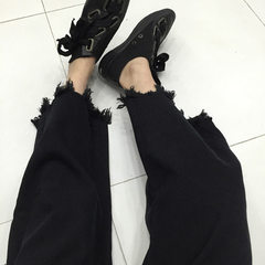 New style spot washed jeans women`s high-waisted fringed broad-leg women`s wear black s.