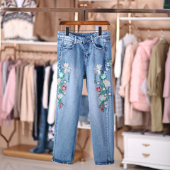 H2 O/L new style original wind floral embroidery curved pocket baggy slim cropped jeans As shown in figure s.