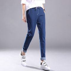 2017 winter fashion women`s jeans with stretch cotton under the east gate trend wear large size stud Deep blue s.