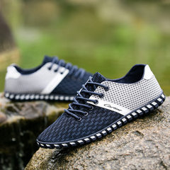 Summer new breathable sneakers men`s casual net shoes men`s Korean version of the old Beijing cloth  E07 dark blue 39