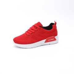 2017 summer new mesh breathable sports casual shoes women flat flat round head tie running shoes Kor red 35