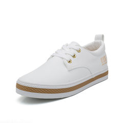 2017 leather upper white shoes spring is a white canvas shoes for women`s Korean version of leisure  white 40
