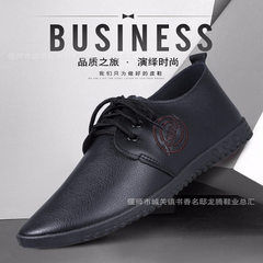 2018 new business casual shoes men wholesale spring and autumn 100 set round head with flat PU sole  black 39