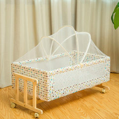 Solid wood crib small rocking bed independent crib portable crib child bed net can be customized Yellow floret 48 cm * 90 cm * 41 cm