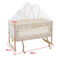 Infant health dual-use hanging type solid wood paint-free baby cradle basket baby bb baby cradle bed Independent cradle + small mosquito net 84 * 46 cm