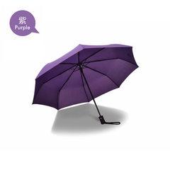 全自动雨伞 三折自开收晴雨伞 折叠商务广告伞定制礼品伞logo 紫色 55*8K