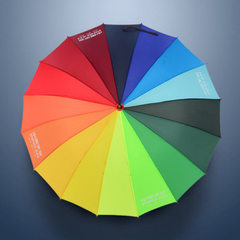 16 bone rainbow umbrella automatic long handle umbrella straight pole advertising umbrella logo whol 55 cm * 16 k