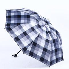新款黑胶格子印花防晒雨伞 晴雨两用太阳伞 遮阳手动三折雨伞批发 黑白格子 1656 55*8k