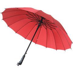 厂家生产16骨创意彩虹伞自动广告伞长柄直杆晴雨伞 雨伞批发定制 红色 碰击布钢丝骨55cm*16k
