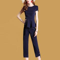 2018夏装新款 欧美女装 修身显瘦时尚气质上衣七分裤两件套套装女 蓝色 S