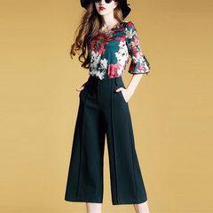 2018夏季新款女装 欧洲站套装 印花上衣时尚两件套阔腿裤套装女 图片色 S