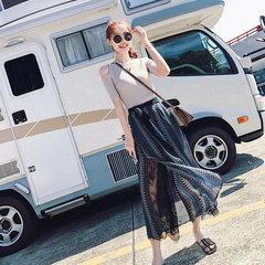 印花阔腿裤套装韩版小清新时髦两件套露肩针织衫时尚套装女2018夏 杏色上衣+印花阔腿裤 S
