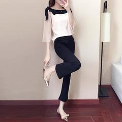 2018新款女装春装韩版时髦套装洋气港味女神阔腿裤两件套女时尚潮 图片色 S