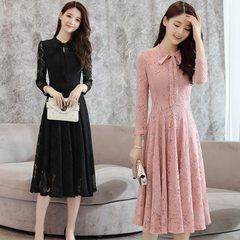 春秋新款女装韩版蕾丝时尚大码连衣裙长袖修身显瘦中长款连衣裙 白色 S