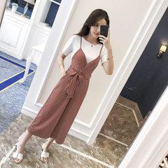 2018夏季新款韩版女装小香风时尚T恤背带裤两件套女神阔腿裤套装 红色条纹套装 S