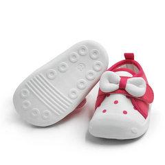 小溜宝2018新款婴儿学步鞋女童公主鞋软底机能鞋宝宝鞋秋款单鞋 玫红色 14码/内长11.6cm