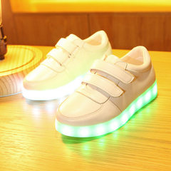 Rechargeable children`s luminous shoes boys and girls lighting shoes spring and autumn new colorful  white 25