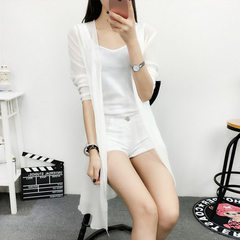 New simple new spring and summer 2018 women`s chiffon cardigan sweet and big size shawl beach sunscr white s.
