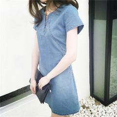 Spring and summer 2018 large size women`s dress fat mm leisure long denim dress women fashion The light blue s.
