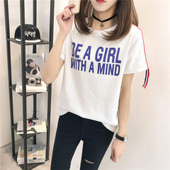 Summer 2018 new Korean version of loose large size ribbon patchwork circular collar printed T-shirt  white m