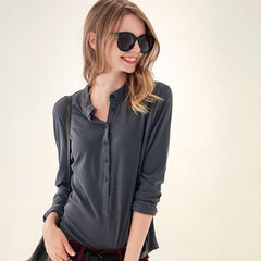 2017 spring and autumn new women`s wear Korean version of large size v-neck long-sleeve T-shirt base gray s.