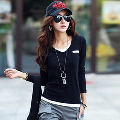 2016 spring and autumn new style women`s clothing fake two Korean version of v-neck cotton long-slee black s.
