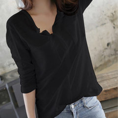 Autumn clothing Korean version of bamboo cotton long-sleeve T-shirt women`s wear v-neck large size l black s.