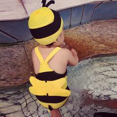 儿童泳衣套装韩国女童男童连体可爱小蜜蜂温泉游泳衣宝宝婴儿泳装 蜜蜂黄 M(15-21斤)