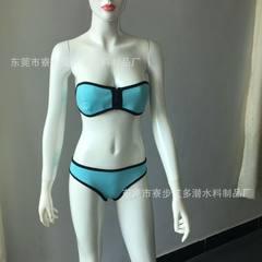 厂家定制无钢托氯丁橡胶比基尼 三点式分体泳衣 潜水料比基尼 蓝色 S