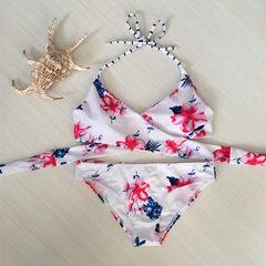 2018新款比基尼性感泳衣 欧美交叉绑带印花bikini游泳衣泳装菠萝 白色 S