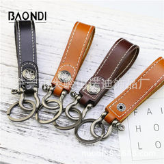Hand-made original top layer oxen leather key ring belt hanging ring buckle black nickel horseshoe b Black leather