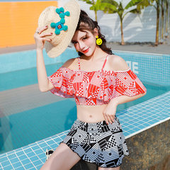 New style 2018 summer hot sale sex appeal shows a bosom to show body swimsuit bikini female to gathe black m