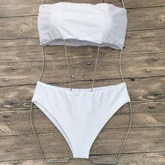 2018新款欧美性感比基尼抹胸三角比基尼分体女士泳衣 泳装厂家 白色 S