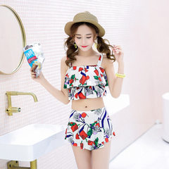 2018 new fashionable Korean version of sweet print bikini-body bikini suit women hot spring swimsuit Rice white m