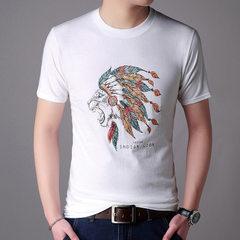 Men`s t shirts summer short sleeve t shirts men`s spring/summer 2018 men`s t shirts 3D printed carto white l