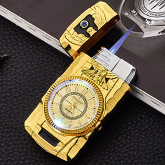 Creative inflatable direct impact lighters metal windbreak with colorful watch lighters gifts wholes A025 eagle gold