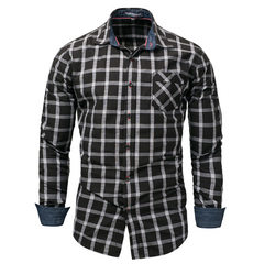 Cross-border exclusively for the new European and American men`s jeans size long sleeve shirt plaid  black m