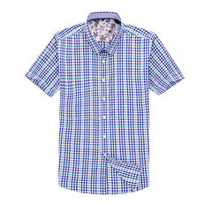 戈德堡男装衬衣 2018夏装新款热卖男式格纹提花全棉休闲短袖衬衫 HEHD2B050 38
